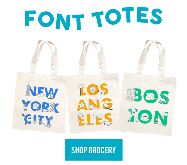 Font Grocery Totes