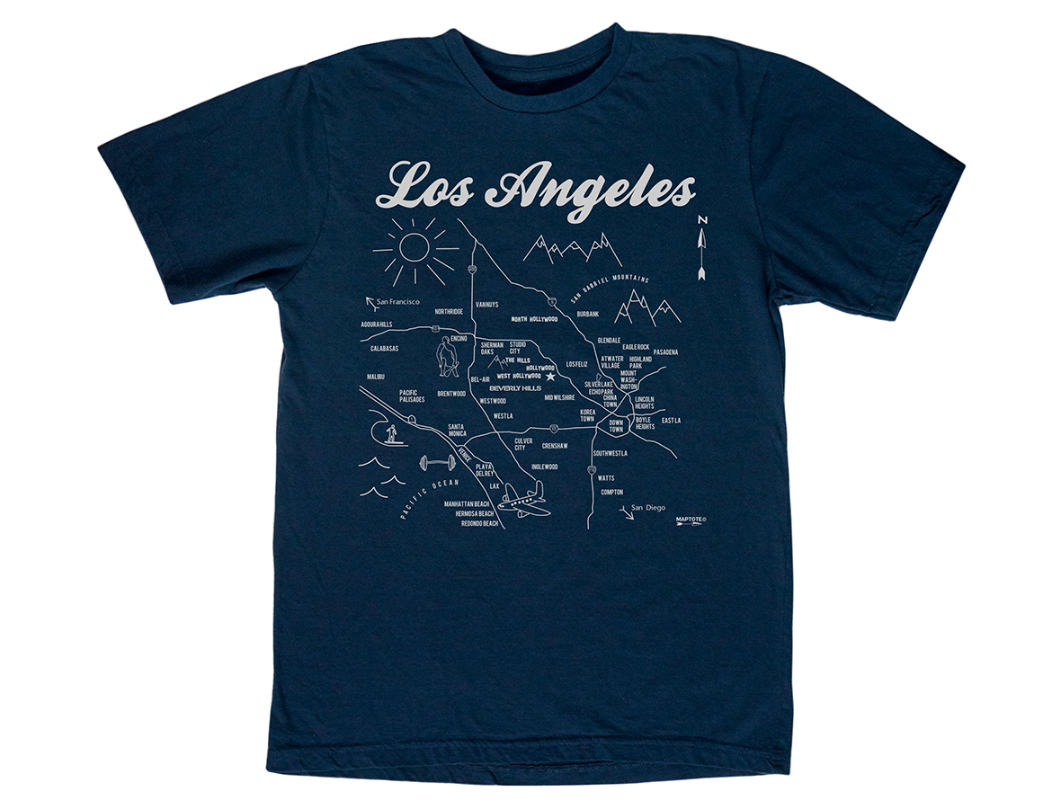 maptote los angeles adult tee navy