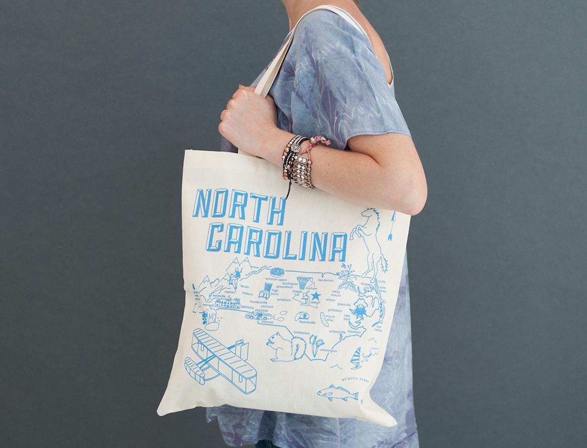 North Carolina Map Tote Bag 15x15 Greensboro Map Tote Bag