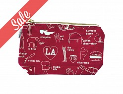 Los Angeles Zip Pouch Red - SALE