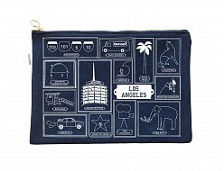 Los Angeles Flat Zip Pouch Denim