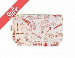Multi-city Natural Red Zip Pouch - SALE