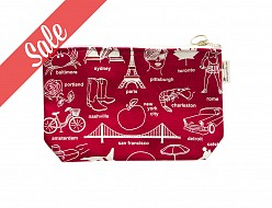 Multi-City Zipped Pouches Red