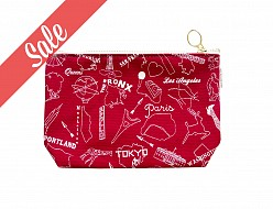 Multi-city Zip Pouch Red - SALE