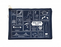 New York City Flat Zip Pouch Denim