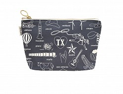 Texas Zipped Pouches Gray