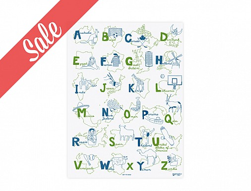 Alphabet Poster - Blue/Green - SALE