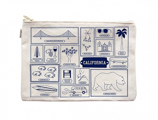 California Flat Zip Pouch Natural