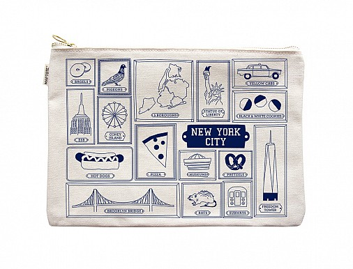 New York City Flat Zip Pouch Natural