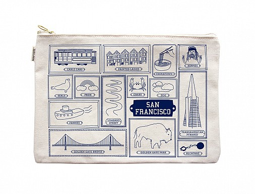 San Francisco Flat Zip Pouch Natural