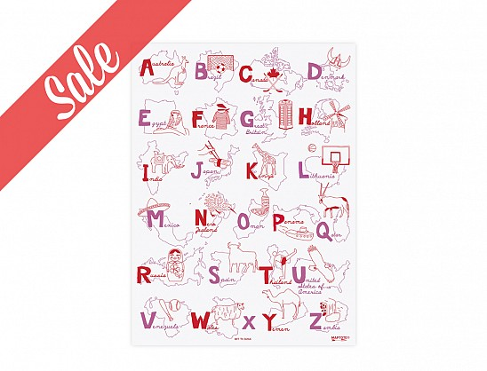 Alphabet Poster - Red/Pink - SALE
