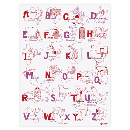 Alphabet Poster - Red/Pink