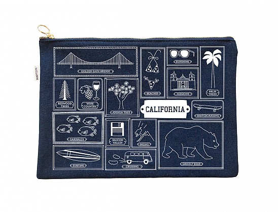 California Flat Zip Pouch Denim