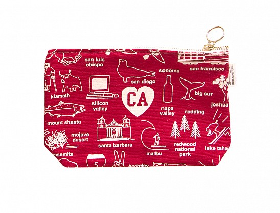 California Zipped Pouches Red