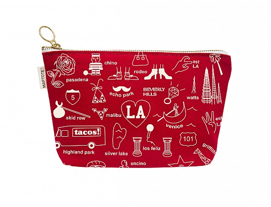 Los Angeles Zipped Pouches Red