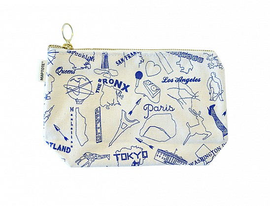 Multi-City Zipped Pouches Natural Blue