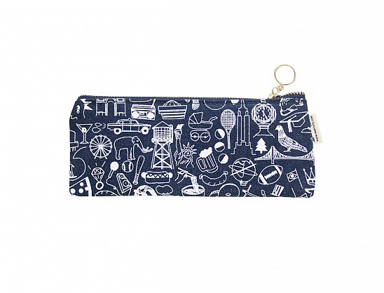 New York City Pencil Pouch Denim