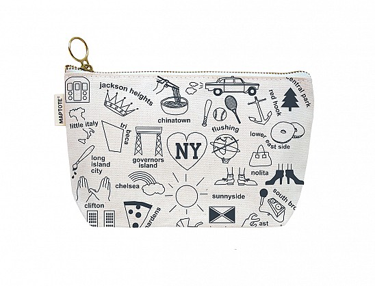 New York City Zipped Pouches Natural