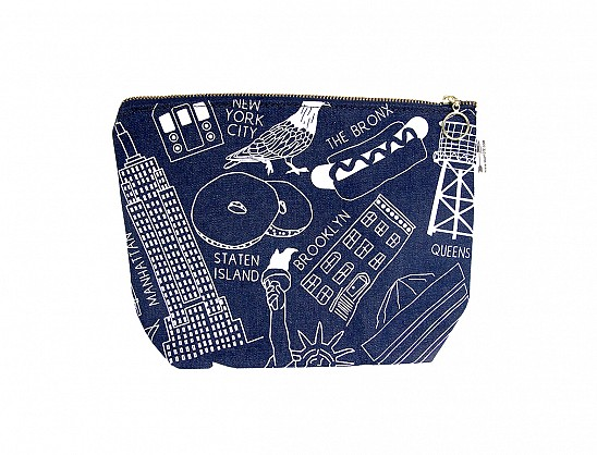 New York City Makeup Pouch - Denim