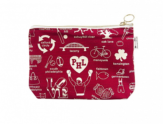 Philadelphia Zipped Pouches Red