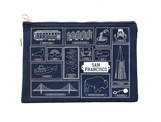 San Francisco Flat Zip Pouch Denim