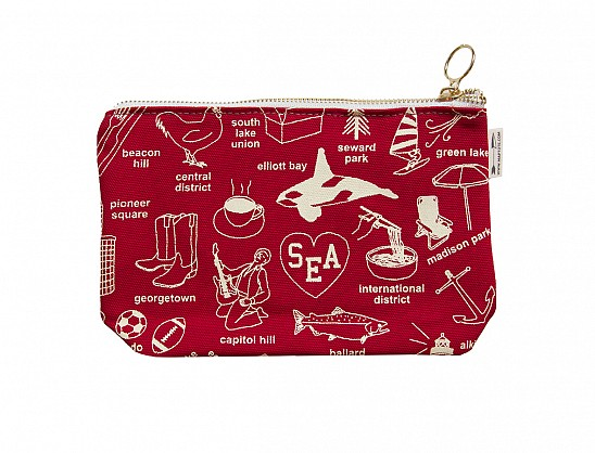 Seattle Zipped Pouches Red