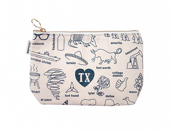Texas Zipped Pouches Natural