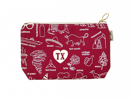 Texas Zipped Pouches Red